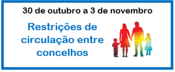 Restrições de circulação entre concelhos – de 30 de outubro a 3 de novembro